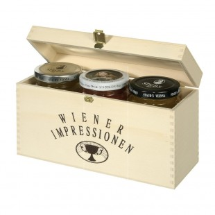 3-Piece Wooden Box with Staud's Logo - EMPTY